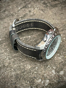 Mens Genuine Thick Brown Leather Watch Strap 22mm 24mm 26mm Lug