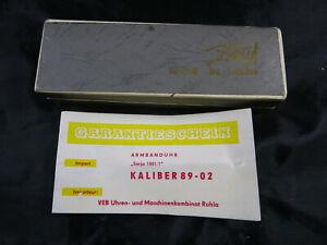 "Armbanduhr ""Sarja 1501/1"" Kaliber 89-02 Uhrenetui Uhrenschachtel Uhrmacher 1978"