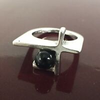 Modernist Sterling Silver Black Pearl Ring Made In Israel Size 5.5
