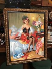 """Vintage Woman Oil Painting On Canvas 46"""" X 37 1/2"""" w/ Custom Frame """"Watch Video"""""""