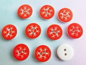 10 x Snowflake Buttons, 2 hole, Resin, Christmas Craft Sewing NEW, UK Scrapbook