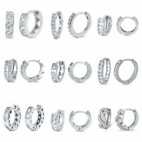 Sterling Silver 925 PRETTY HUGGIE EARRINGS WITH CLEAR CUBIC ZIRCONIA STONE