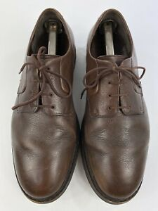Mephisto Men's 9.5 Dark Brown Pebbled Leather Casual Plain Toe Derby Dress Shoes