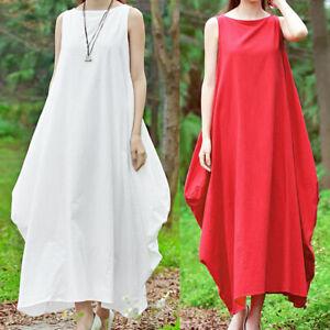 Plus Size Women Sleeveless Cotton Dresses Loose Kaftan Casual Maxi Long J9E0