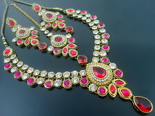 PARTY WEAR RANI PINK CZ GOLD TONE NECKLACE SET BOLLYWOOD TRADITIONAL JEWELRY