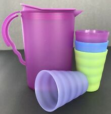 Tupperware Kids Mini Impressions Toy Play Set Purple Pitcher Tumblers New