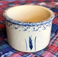Vintage Robison Ransbottom Roseville Pottery Wheat Crock Planter Blue Sponge Rim