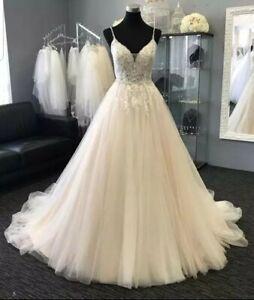 UK White/Ivory Spaghetti Straps Beaded Beach A Line Wedding Dresses Size 6-20