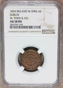 1834 Ireland Dublin W. Todd & Co Bronze Token Farthing NGC AU 58 BN - W-5905