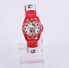 Reloj de pulsera niños Niñas Hello Kitty Rojo analógico de Cuero Correa vendedor del Reino Unido
