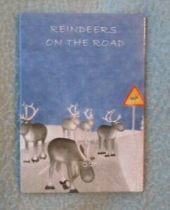 Reindeers On The Road Finland Sweden Magnet Souvenir Refrigerator Travel MB121