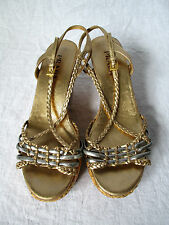 PRADA Gold & Silver Metallic Leather Braided Sandals with Straw Wedge - Size 38