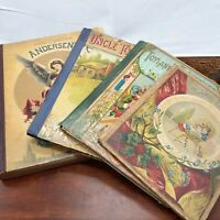 Antique childrens book lot 4 instant library decor fairytale Andersen