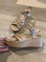 Korkease Women's Leather Sandals 9 40.5 Wedge Open Toe Shoes Beige Tan