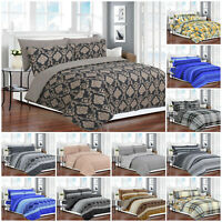 Luxury 4 Piece 100% Cotton Duvet Cover Bedding Set Single Double King Size