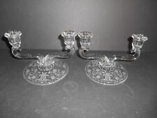 Nice Pair of Crystal Prelude Etched 2 Lite Candlesticks by New Martinsville