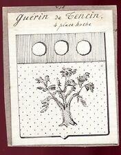 "ancien dessin à la plume.héraldique blason "" Guérin de Tencin """