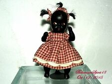 ANTIQUE BLACK AMERICANA MINIATURE GIRL BISQUE DOUBLE JOINTED RESTORED 6.5'' DOLL