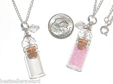 1pc Glass Clear perfume small bottle cork pendant vial fill locket Necklace*