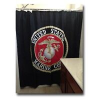 Marines USMC Marine Corps Black Shower Curtain 70x72 Poly Bathroom Set Hooks
