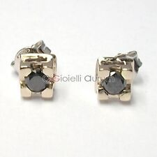 Orecchini punto luce tappabuchi in oro bianco 18 kt. con diamanti naturali neri