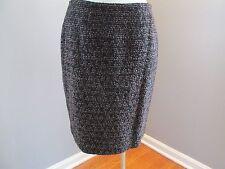 Dana Buchman Black Brown Tweed Skirt 6 Textured Wool Blend