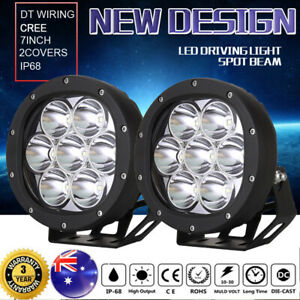 Pair 7 inch CREE Spot LED Driving Lights Flood 4x4 Round Spotlights BLACK Bar