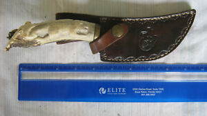 custom hand made hunting/skinning (scratchy hand) knife gorgeous antler handle