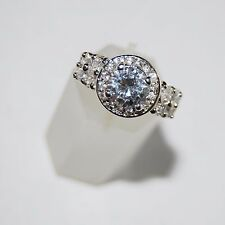 Handmade Clear Cut CZ Fancy Solitaire w/Accent Ring Size 7