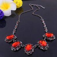 Fashion Retro Women's Charm Crystal Chain Pendant Choker Bib Necklace Jewelry