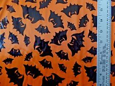 HALLOWEEN BLACK FOIL BATS ON ORANGE 100% POLYESTER KNIT FABRIC BY THE 1/2 YARD