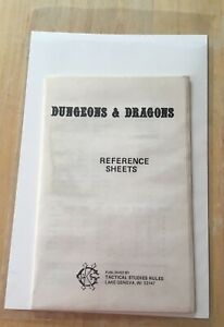 TSR Tactical Studies Rules Original Dungeons & Dragons Reference Sheets