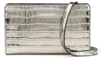 Michael Kors Large Crossbody Clutch Silver Retail $178
