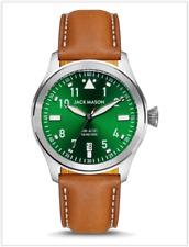 NWT Jack Mason Aviator JM-A101-404 Green Dial, Caramel Brown Leather Strap Watch