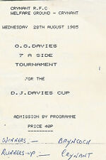Crynant-DJ Davies RUGBY SEVENS PROG 1985 28 AUG sette sorelle cwmgwrach