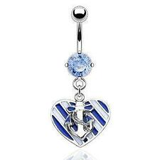 Body Accentz® Belly Button 316L Surgical Steel Navel Ring Heart Anchor Dangle Bo