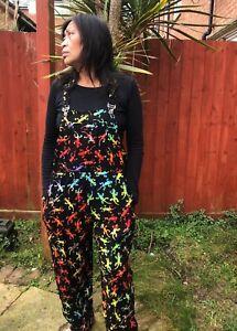 Ethnic Funky Hippy Boho Multi Coloured Gecko Dungarees Festivals S M L XL XXL
