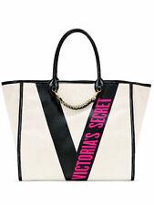 Victoria's Secret Ribbon Logo City Tote Bright Pink Logo Black & White