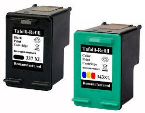 2x Patronen XL Black & Color für HP 337 & 343 6318 6310 6310 XI 6315 6313 6304