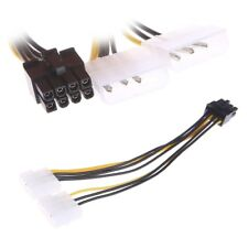 Dual 4-Pin Molex LP4 To 8-Pin PCI Express Video Card ATX PSU Power Adapter Cable