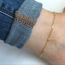"Bar Detail Adjust Anklet 9""-10"" -Minimalist 14K Solid Gold Singapore Chain with"