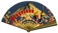 SAS SCANDINAVIAN Airlines to JAPAN - Gorgeous FAN Shaped Luggage Label, MINT