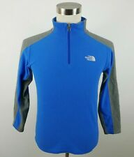 The North Face Boys Warm Fleece Long Sleeve 1/4 Zip Blue Gray Sweater Youth L