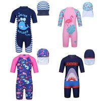 Kids Boys Girls Shark Swimsuit Swimwear Short Sleeves Bathing Suit Rash Guard
