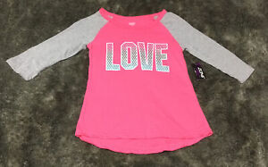 "Zone Pro Girls Activewear Raglan Sleeve Shirt Pullover ""Love"" Size S (6- 6x) NWT"