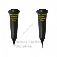 2 X Mum In Loving Memory British Made Black Grave Flower Vase Funeral Spike