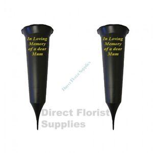 2 X Mum In Loving Memory British Made Black Grave Flower Vase Funeral Spike
