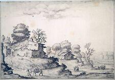 Radierung, Landschaft mit Bauernhäusern, E. Bazzicaluva, um 1640, Florenz, rare