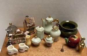 Vintage Artisan Porcelain Dishes Cottage Brass Bell Dollhouse Miniature 1:12