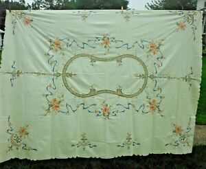 TABLECLOTH Floral on Ecru 64 x 84 Embroidery Crochet 8 NAPKINS - Beauty ! NEW